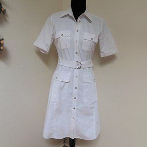White Sharagano Belted Safari Dress Size 4